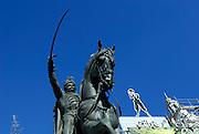 "Detail of statue of Ban Josip Jelacic in Ban Jelacic Square (trg Bana Jelacica) with billboard ""photographer"", Zagreb, CroatiaZagreb, Croatia"