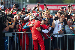 SPA-FRANCORCHAMPS, Sept. 2, 2019  Charles Leclerc (Front) of Ferrari celebrates with his team members after the Formula 1 Belgian Grand Prix at Spa-Francorchamps Circuit, Belgium, Sept. 1, 2019. (Credit Image: © Zheng Huansong/Xinhua via ZUMA Wire)