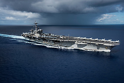 April 23, 2017 - Uss Carl Vinson, United States of America - The U.S. Navy Nimitz-class aircraft carrier USS Carl Vinson transits the Philippine Sea while conducting a bilateral exercise with the Japan Maritime Self Defense Force April 23, 2017. The ship is heading toward South Korea as tensions continue to rise between the U.S. and North Korea. (Credit Image: © Z.A. Landers/Planet Pix via ZUMA Wire)