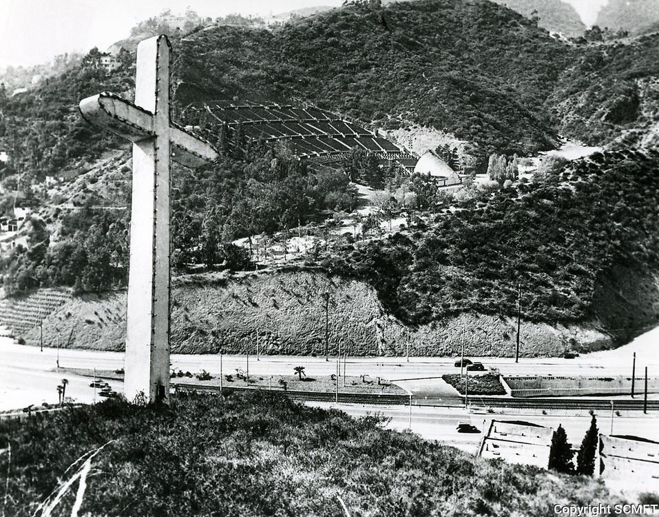 1943 Pilgrimage Play cross on the east side of the Cahuenga Pass