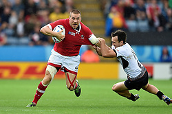 Nick Blevins of Canada takes on the Romania defence - Mandatory byline: Patrick Khachfe/JMP - 07966 386802 - 06/10/2015 - RUGBY UNION - Leicester City Stadium - Leicester, England - Canada v Romania - Rugby World Cup 2015 Pool D.