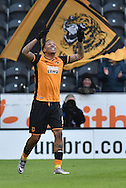 Hull City striker Abel Hernandez (9) celebrates scoring his second goal to go 2-0 up  during the Sky Bet Championship match between Hull City and Charlton Athletic at the KC Stadium, Kingston upon Hull, England on 16 January 2016. Photo by Ian Lyall.