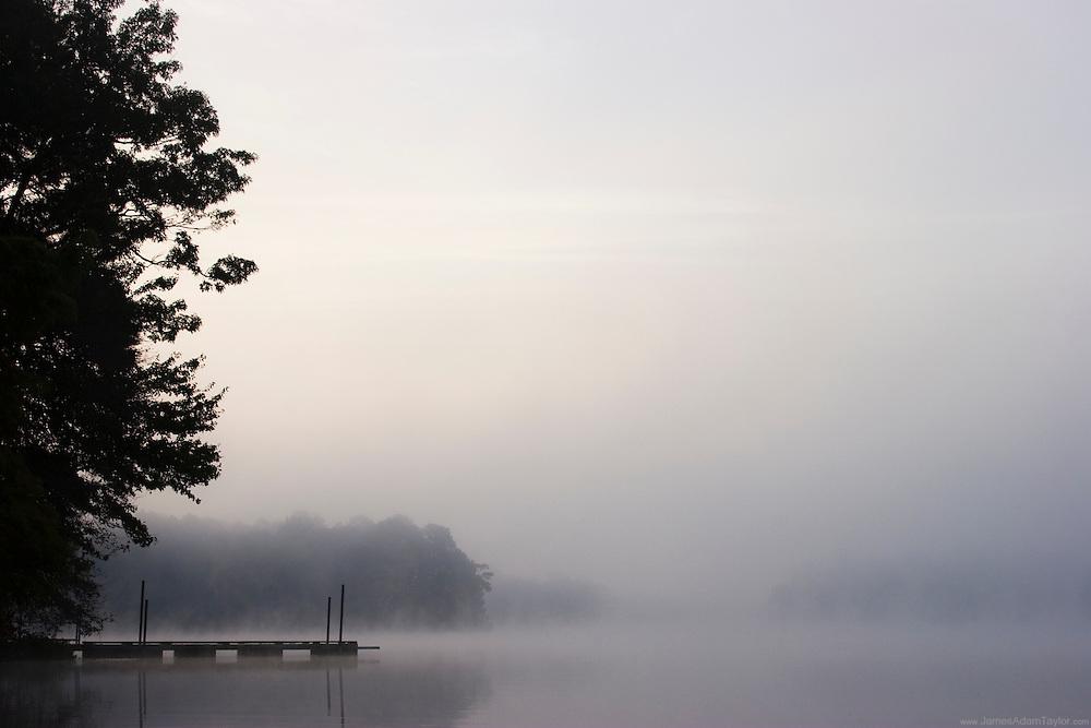 Morning mist over Trap pond, Delaware.