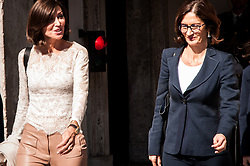 October 10, 2018 - Rome, Italy, Italy - The leaders of the Forza Italia group of the Chamber of Deputies and Senate of the Republic, Maria Stella Gelmini and Anna Maria Bernini, made statements to the press after their meeting with Premier Giuseppe Conte  (Credit Image: © Andrea Ronchini/Pacific Press via ZUMA Wire)
