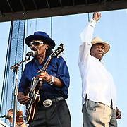 """WASHINGTON, DC -  August 15th, 2009 -  """"Godfather of Go-Go"""" Chuck Brown (L) is joined onstage by """"Mayor For Life"""" Marion Barry (R) at the Stone Soul Picnic at RFK Stadium in Washington, D.C. (Photo by Kyle Gustafson)"""