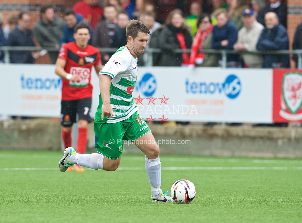 NEWTOWN, WALES - Saturday, May 2, 2015: The New Saints' Christian Seargeant in action against Newtown during the FAW Welsh Cup final match at Latham Park. (Pic by Ian Cook/Propaganda)