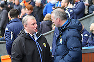 Leeds United Manager Steve Evans (l) talks with Blackburn Rovers Manager Paul Lambert prior to kick off. Skybet football league Championship match, Blackburn Rovers v Leeds United at Ewood Park in Blackburn, Lancs on Saturday 12th March 2016.<br /> pic by Chris Stading, Andrew Orchard sports photography.