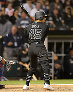 CHICAGO - AUGUST 23:  Jon Jay #45 of the Chicago White Sox bats against the Texas Rangers during Players Weekend on August 23, 2019 at Guaranteed Rate Field in Chicago, Illinois.  (Photo by Ron Vesely)  Subject:   Jon Jay