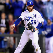 Kansas City Royals relief pitcher Greg Holland (56) reacted to the final out in the ninth inning to record the 2-1 win against the Baltimore Orioles in Game 3 of the in the American League Championship Series on October 14, 2014 at Kauffman Stadium in Kansas City, Mo. The Royals won 2-1, taking a 3-0 lead in the best of seven series.