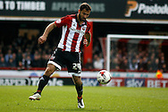 Akaki Gogia of Brentford controlling possession. Skybet football league championship match, Brentford  v Fulham at Griffin Park in London on Saturday 30th April 2016.<br /> pic by Steffan Bowen, Andrew Orchard sports photography.