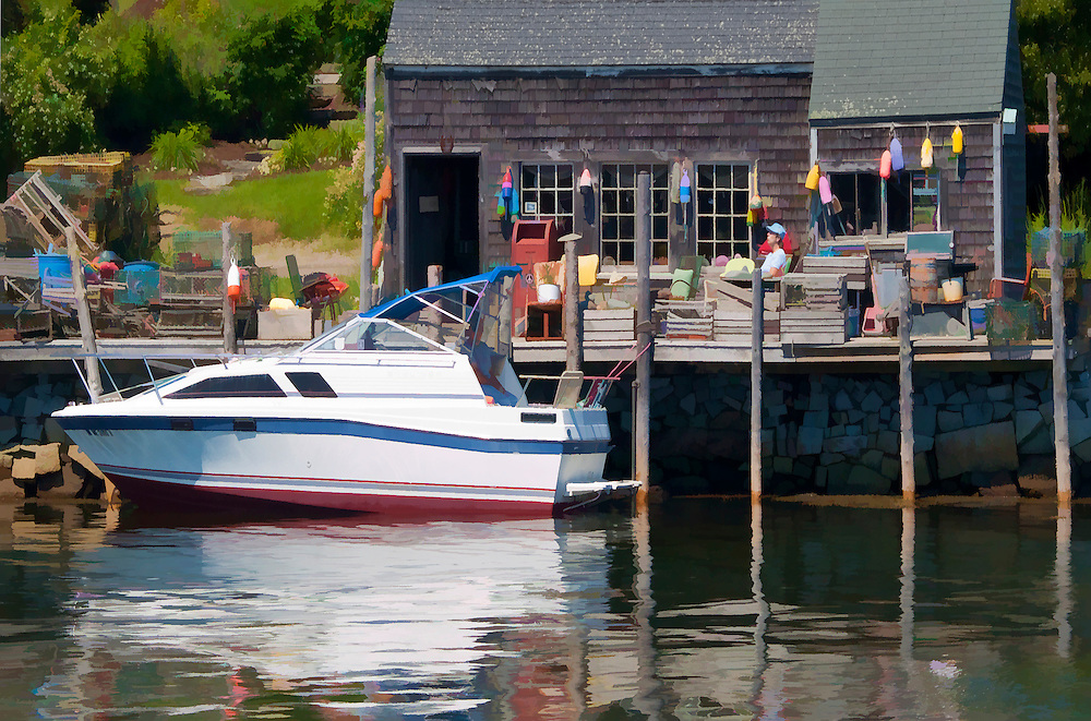 Port Clyde Maine on a sunny summer day. As Maine as you can possibly get! So many elements, boat, buoys, dock, reflections, man sitting and enjoying life, it's all here.
