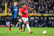 Goal Manchester United forward Anthony Martial (9) scores a goal 1-1 during the Europa League match between Club Brugge and Manchester United at Jan Breydel Stadion, Brugge, Belguim on 20 February 2020.
