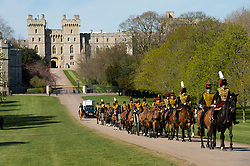 The Kings Guard leaving Windsor Castle at the funeral of Prince Philip, The Duke of Edinburgh.<br />Credit: Doug Peters/EMPICS