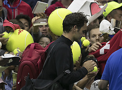 September 2, 2017 - Flushing Meadows, New York, U.S - Roger Federer signs autographs on Day Six of the 2017 US Open after defeating Feliciano Lopez at the USTA Billie Jean King National Tennis Center on Saturday September 2, 2017 in the Flushing neighborhood of the Queens borough of New York City.  Federer defeats Lopez, 6-3, 6-3, 7-5. (Credit Image: © Prensa Internacional via ZUMA Wire)