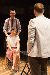 © Licensed to London News Pictures. 01/07/2015. London, UK. L-R. Adrian Lukis (Laurence Olivier), Louise Ford (Joan Plowright) and Edward Bennett (Kenneth Tynan). Photocall for the European Premiere of Orson's Shadow by Austin Pendleton at the Southwark Playhouse. The comedy, based on true events as Orson Wells and Laurence Olivier work together for the first time, runs from 1 to 25 July 2015. Photo credit : Bettina Strenske/LNP