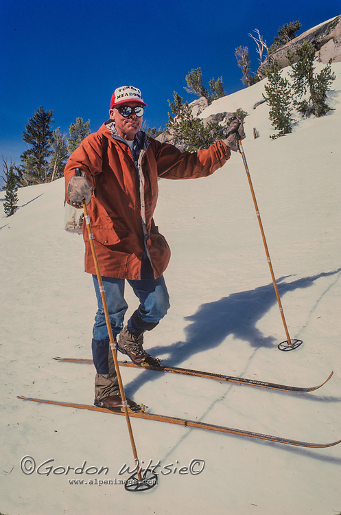 Snow surveyors for the Califonria Department of Water Resources ski deep into the Sierra Nevada backcountry measure the snowpack below Kearsarge Pass in  Kings Canyon National Park.