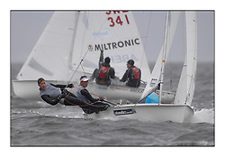 470 Class European Championships Largs - Day 2.Wet and Windy Racing in grey conditions on the Clyde...GBR853, Anna BURNET, Flora STEWART, RNCYC...