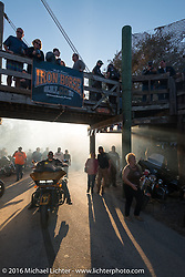 Smoke clears after another burnout at the Iron Horse Saloon during the Daytona Bike Week 75th Anniversary event. FL, USA. Sunday March 6, 2016.  Photography ©2016 Michael Lichter.