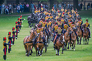 Arriving in Green Park and depositing the guns - The King's Troop Royal Horse Artillery fire celebratory a Royal Salute at 1pm on Saturday 2nd June to mark the Coronation Day.