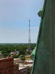 05 June 2014:   Downtown Bloomington.  looking NW.  The Telecourrier tower is center of photo.