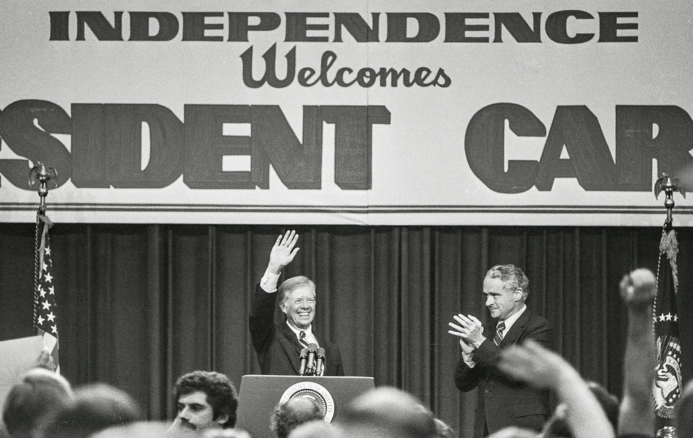 President Jimmy Carter at a Town Hall event in Independence, Missouri, September 2, 1980, during his re-election campaign. Missouri Senator Thomas Eagleton, right.