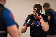 DALLAS, TX - MAY 13:  Chas Skelly warms up in the locker room before fighting Jason Knight during UFC 211 at the American Airlines Center on May 13, 2017 in Dallas, Texas. (Photo by Cooper Neill/Zuffa LLC/Zuffa LLC via Getty Images) *** Local Caption *** Chas Skelly