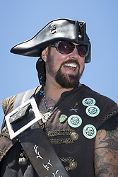 """July 8, 2017 - Seattle, Washington, United States - Seattle, Washington: DAMIAN """"TERRIBLE"""" TERRELL arrives at the Seafair Pirates Landing at Alki Beach Park. The iconic event is the unofficial start to summer in Seattle and the kickoff to Seafair. The pirates have a long history dating back to the first Seafair festival in 1950. The summer festival encompasses a wide variety of small neighborhood events leading up to several major city-wide celebrations. The Seafair Pirates are an organization that works year-round entertaining children in hospitals and performing other acts of community service including extensive fundraising. (Credit Image: © Paul Gordon via ZUMA Wire)"""