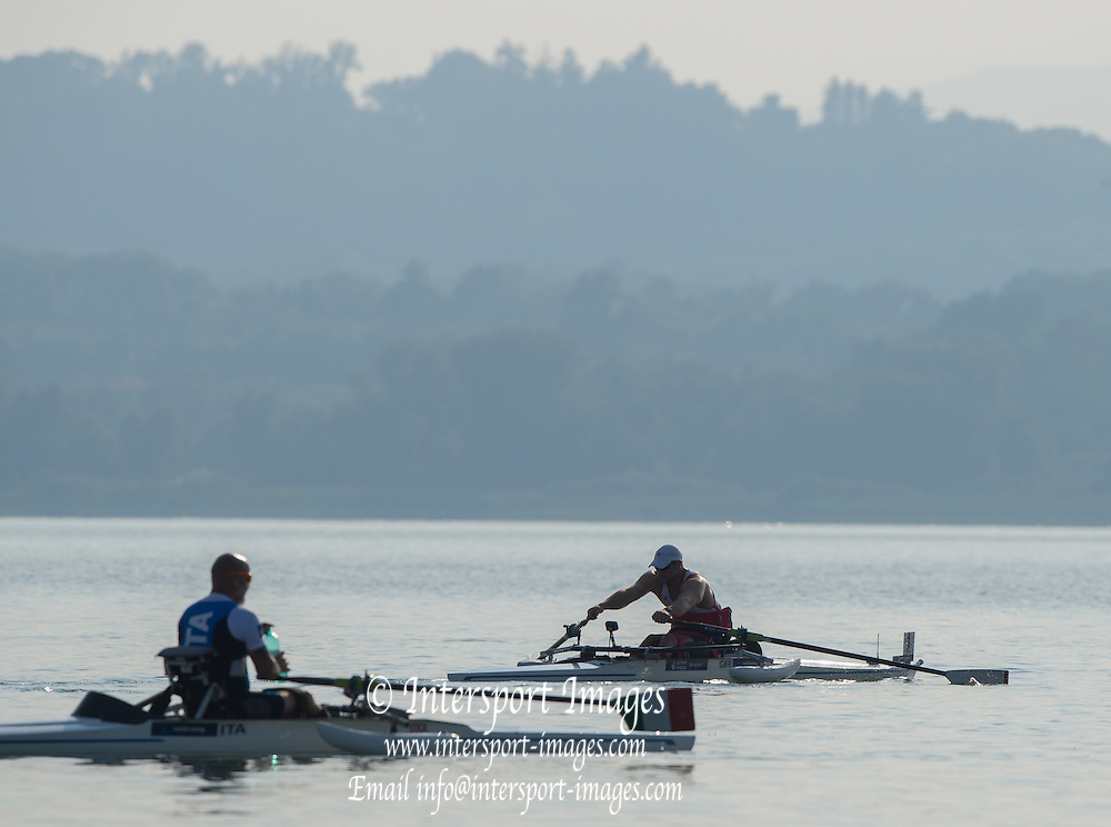 Varese. ITALY.   Right. GBR   ASM1X. Tom AGGAR. 2015 FISA World Cup II Venue Lake Varese. Thursday  18/06/2015 [Mandatory Credit: Peter Spurrier/Intersport-images.com]