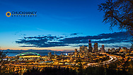 City skyline from Jose Rizal Park in downtown Seattle, Washington, USA