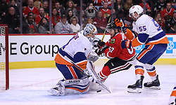 March 3, 2017 - Chicago, IL, USA - Chicago Blackhawks center Tanner Kero (67) is unable to score on New York Islanders goalie Thomas Greiss (1) in the first period of a game at the United Center on Friday, March 3, 2017 in Chicago, IL. (Credit Image: © Chris Sweda/TNS via ZUMA Wire)