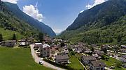 Aerial view of valley, Rossa in Switzerland