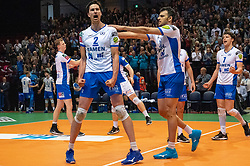 12-05-2019 NED: Abiant Lycurgus - Achterhoek Orion, Groningen<br /> Final Round 5 of 5 Eredivisie volleyball, Orion wins Dutch title after thriller against Lycurgus 3-2 / Wytze Kooistra #2 of Lycurgus Hossein Ghanbari #13 of Lycurgus