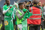 Karamoko Dembele enjoying the atmosphere of being involved in the William Hill Scottish Cup Final match between Heart of Midlothian and Celtic at Hampden Park, Glasgow, United Kingdom on 25 May 2019.