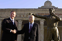 Fotball<br /> Foto: BPI/Digitalsport<br /> NORWAY ONLY<br /> <br /> 12/10/2004 Statue unveiling, Tofiq Bahramov Stadium<br /> Sir Geoff Hurst unveils the statue in honour of the Azerbaijan linesman, Tofiq Bahramov, with his son
