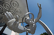 Statue of cosmonaut Alexey Leonov. Star City, Moscow, Russia.
