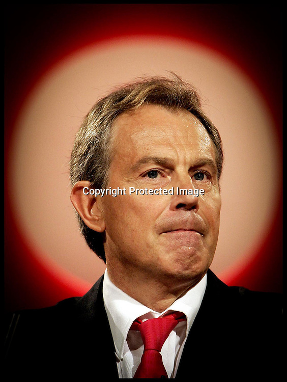 The Prime Minister  Tony Blair during his speech at the LAbour Party Conference in Brighton.PRESS ASSOCIATION Photo. Photo Credit should read:Andrew Parsons/PA