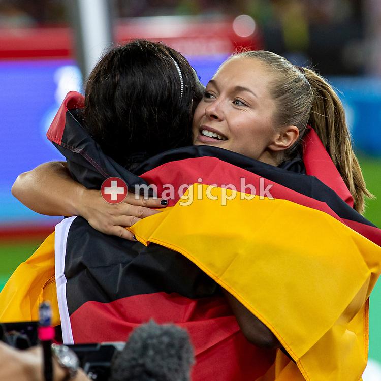 Team Germany celebrates after winning in the Women's 4x100m Relay - Zurich Trophy - during the Iaaf Diamond League meeting (Weltklasse Zuerich) at the Letzigrund Stadium in Zurich, Switzerland, Thursday, Aug. 29, 2019. (Photo by Patrick B. Kraemer / MAGICPBK)