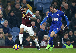 Andre Gray of Burnley goes past Christian Fuchs of Leicester City - Mandatory by-line: Robbie Stephenson/JMP - 31/01/2017 - FOOTBALL - Turf Moor - Burnley, England - Burnley v Leicester City - Premier League