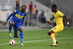 Cape Town-180818 Cape Town City defender Thami Mkhize  challenged by Knox Mutizwa of Golden Arrows in a PSL match at Cape Town Stadium .photograph:Phando Jikelo/African News Agency/ANA
