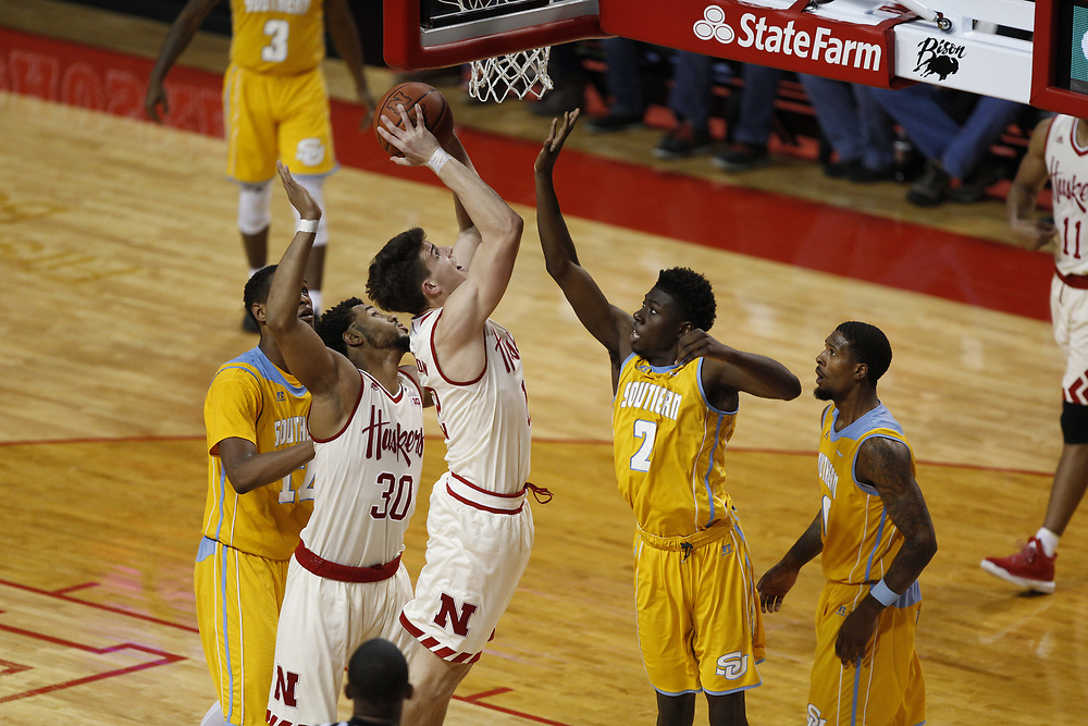 Nebraska Cornhuskers forward Michael Jacobson #12 scores during Nebraska's 81-76 win over Southern at Pinnacle Bank Arena in Lincoln, Neb. on Dec. 20, 2016. Photo by Aaron Babcock, Hail Varsity