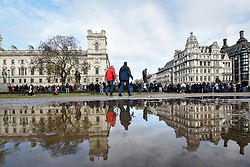 © Licensed to London News Pictures. 11/11/2018. LONDON, UK.  Thousands of people begin to gather in Parliament Square on Remembrance Sunday which, this year, marks the centenary of Armistice Day.    Photo credit: Stephen Chung/LNP