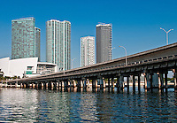 View of downtown Miami, from Biscayne Bay and view of Overpass.