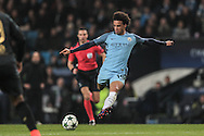 LeroySané (Manchester City) takes a shot during the Champions League match between Manchester City and Celtic at the Etihad Stadium, Manchester, England on 6 December 2016. Photo by Mark P Doherty.
