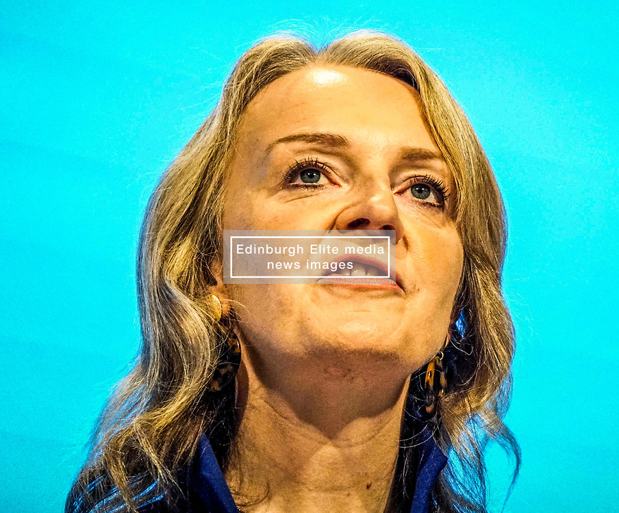Pictured :  Liz Truss, Secretary of State for International Trade   speaks  to delegates   on the first day at the Conservative Party Conference<br /> <br /> <br /> Giannis Alexopoulos   EEm 29/09/2019