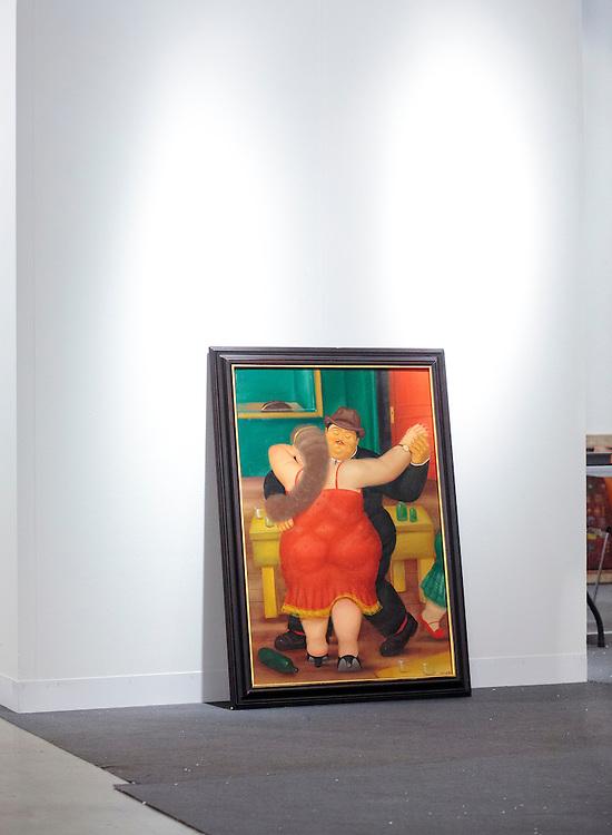 A Botero awaiting to be hung at Art Basel Miami Beach 2011