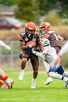 KELOWNA, BC - SEPTEMBER 8:  Malcolm Miller #3 of Okanagan Sun is tackled by Kyle CLAROT #21 of Langley Rams after receiving the ball at the Apple Bowl on September 8, 2019 in Kelowna, Canada. (Photo by Marissa Baecker/Shoot the Breeze)