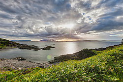 Scenic view of Glasnacardoch bay during sunset, Scotland, UK