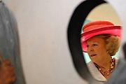 Her Majesty the queen was Wednesday 17 May present at the start of the jubilee programme on the occasion of the 50 year old existence of Singer Laren. The queen performs this day the official opening of the renewed garden room of the museum and she visits the jubilee at tone interview Singer Laren live ones!<br /> <br /> Hare Majesteit de Koningin was woensdag 17 mei aanwezig bij de start van het jubileumprogramma ter gelegenheid van het 50-jarig bestaan van Singer Laren. De Koningin verricht deze dag de officiële opening van de vernieuwde tuinzaal van het museum en zij bezichtigt de jubileumtentoonstelling Singer Laren Live!<br /> <br /> <br />  On the photo / Op de foto : The Queen visits one of the exibitions room made by childeren / De koningin bezoekt een van de kamers door kinderen ingericht