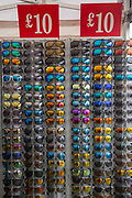 Sun glasses for sale at the Suffolk Show on the 29th May 2019 in Ipswich in the United Kingdom. The Suffolk Show is an annual show that takes place in Trinity Park, Ipswich in the English county of Suffolk. It is organised by the Suffolk Agricultural Association.