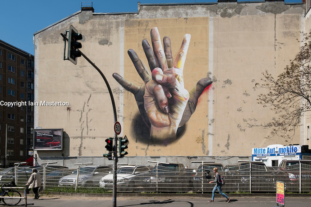 Street art on building in Kreuzberg District of Berlin Germany